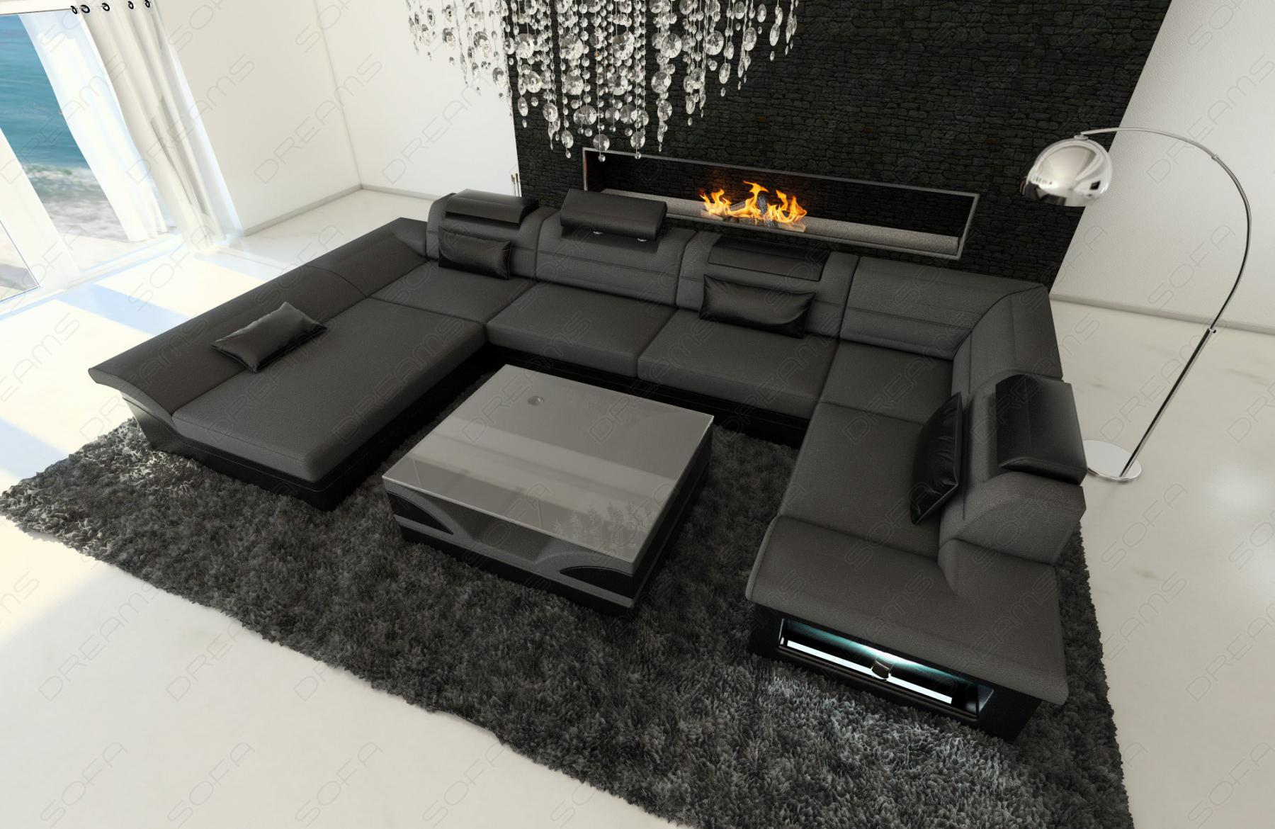 stoff leder wohnlandschaft enzo u form grau kaufen bei. Black Bedroom Furniture Sets. Home Design Ideas