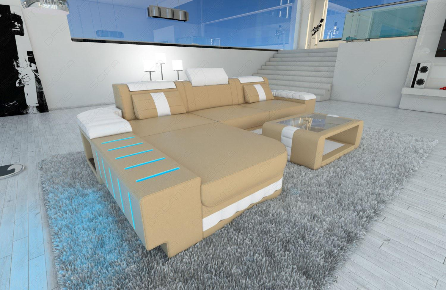 Ecksofa mit led beleuchtung andes leather lshaped for Eckcouch mit led