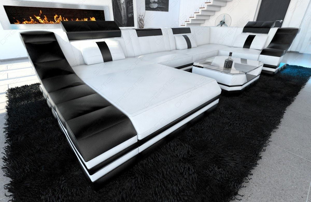 moderne leder wohnlandschaft turino in u form kaufen bei pmr handelsgesellschaft mbh. Black Bedroom Furniture Sets. Home Design Ideas