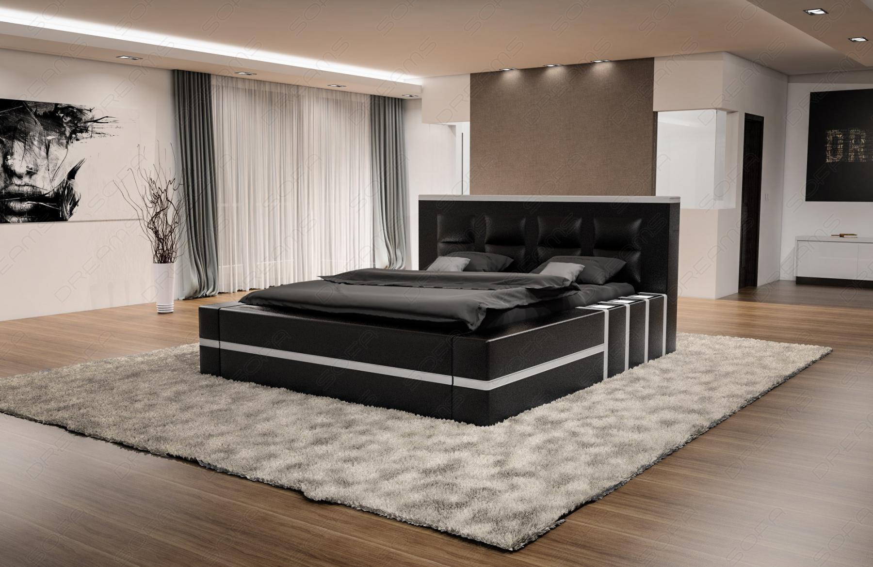 luxus boxspringbett asti mit beleuchtung in schwarz weiss kaufen bei pmr handelsgesellschaft mbh. Black Bedroom Furniture Sets. Home Design Ideas