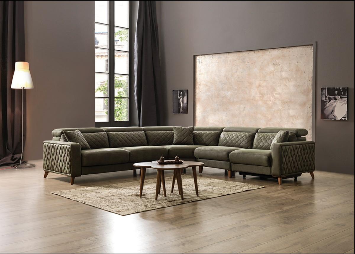 Fasjonable Luxus Sofa Krefeld in Stoff mit Chesterfield Optik und Recliner IR-82