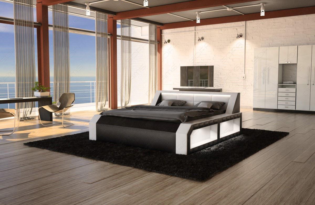 boxspring bett matera schwarz weiss modern mit led beleuchtung kaufen bei pmr. Black Bedroom Furniture Sets. Home Design Ideas