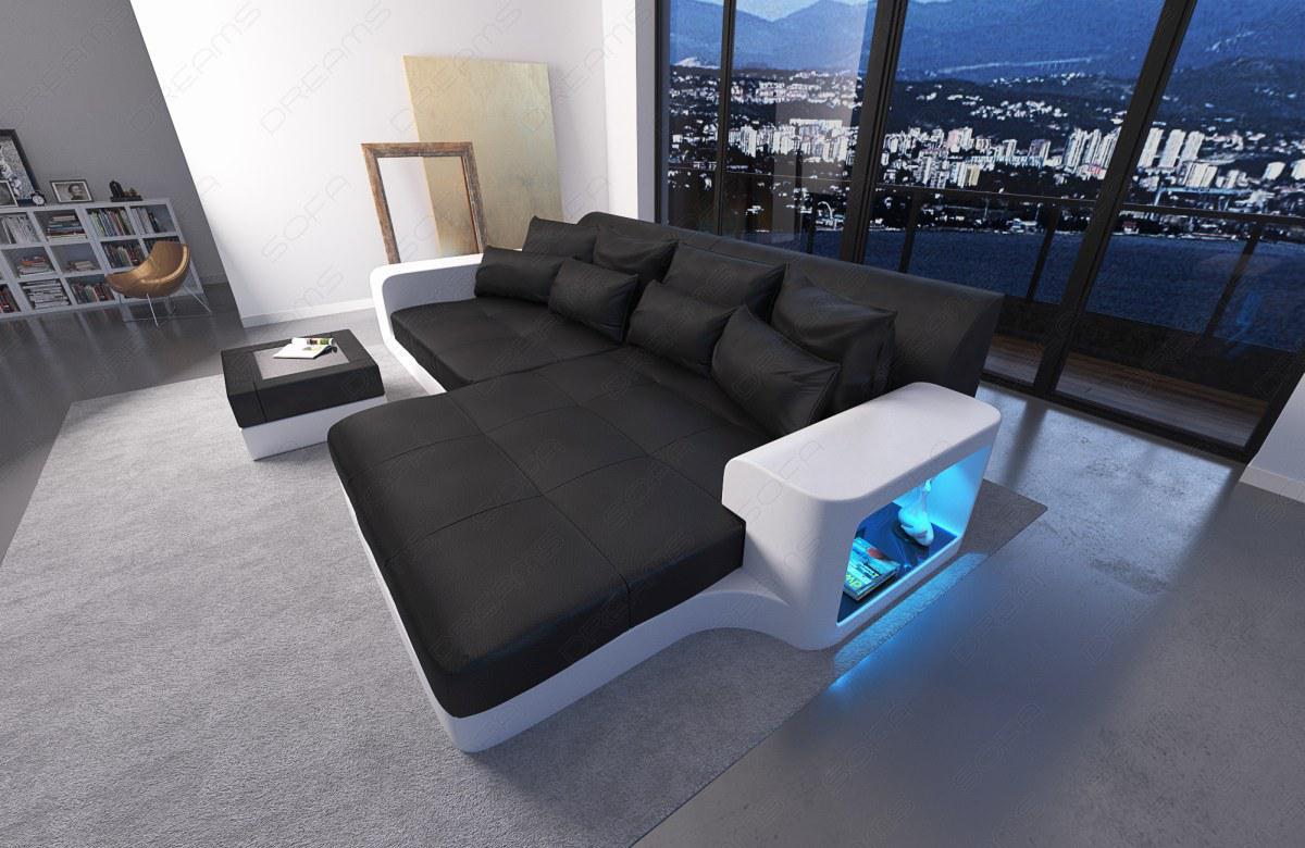 designer big sofa milano mit ottomane und led licht kaufen bei pmr handelsgesellschaft mbh. Black Bedroom Furniture Sets. Home Design Ideas