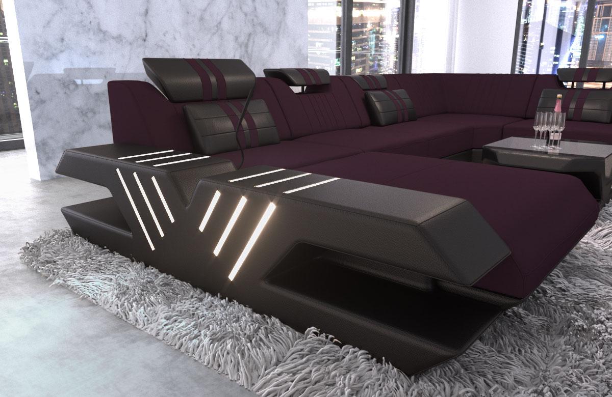polster wohnlandschaft venedig xxl couch mit ottomane und led licht kaufen bei pmr. Black Bedroom Furniture Sets. Home Design Ideas