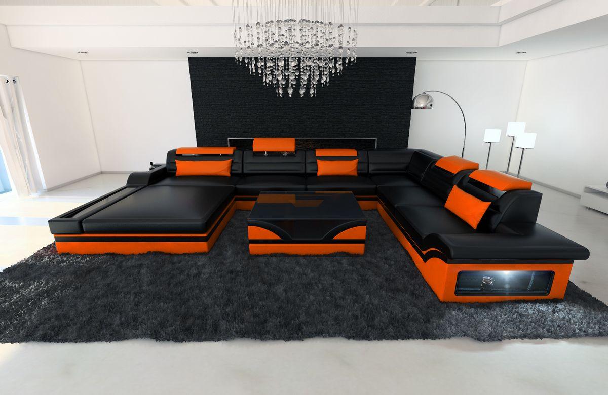 Xxl Wohnlandschaft Mezzo Schwarz Orange Kaufen Bei Pmr