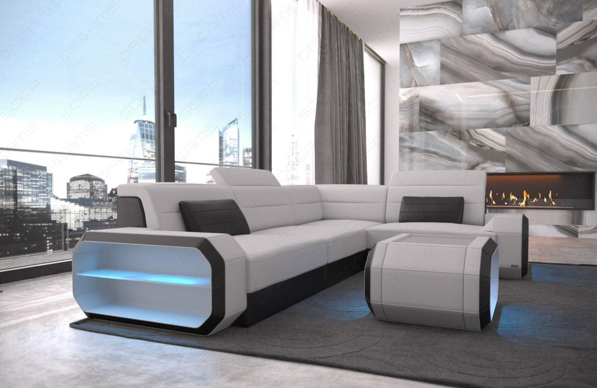 stoffsofa eckcouch verona modern mit led beleuchtung kaufen bei pmr handelsgesellschaft mbh. Black Bedroom Furniture Sets. Home Design Ideas