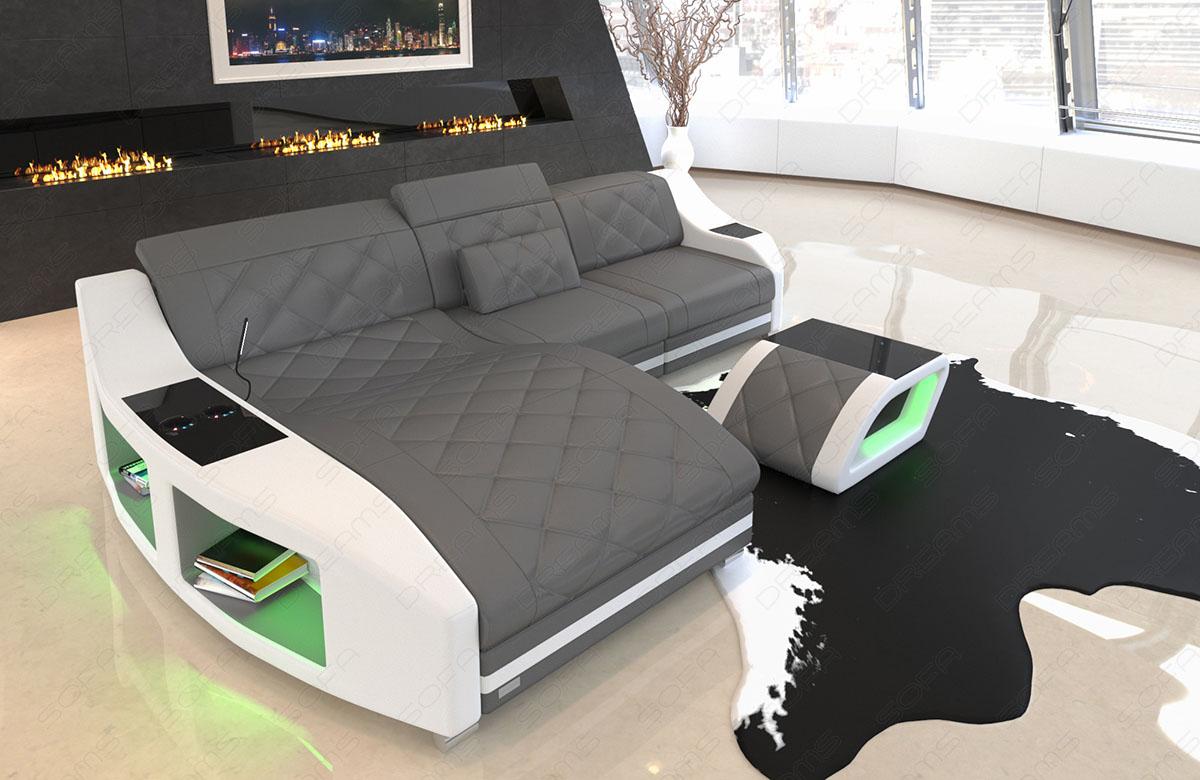 Leder Ecksofa Swing Luxus Couch Mit Ottomane Und Led Beleuchtung