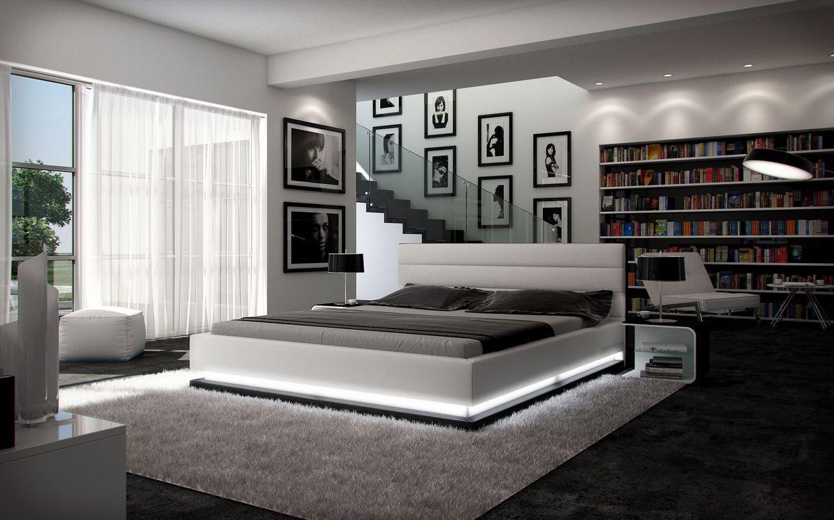 komplettbett moonlight weiss schwarz mit matratze und lattenrost 140x200 160x200 180x200. Black Bedroom Furniture Sets. Home Design Ideas