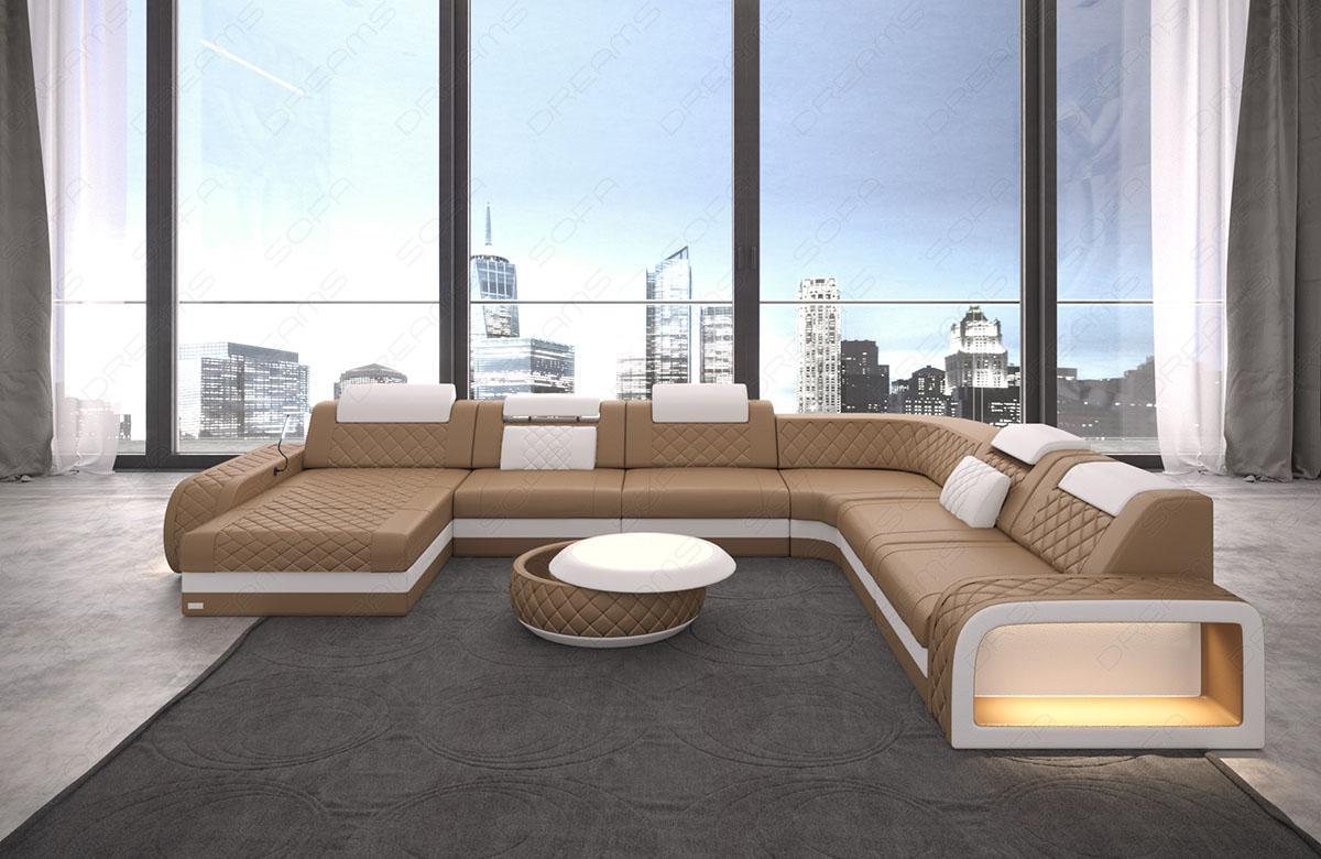 xxl leder wohnlandschaft berlin u form mit beleuchtung kaufen bei pmr handelsgesellschaft mbh. Black Bedroom Furniture Sets. Home Design Ideas