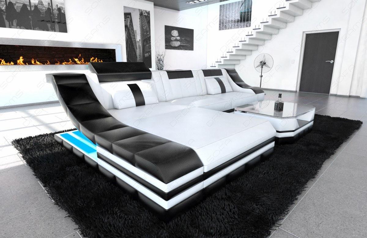 Sofa Turino in Leder als modernes L Form Ecksofa - Kaufen ...