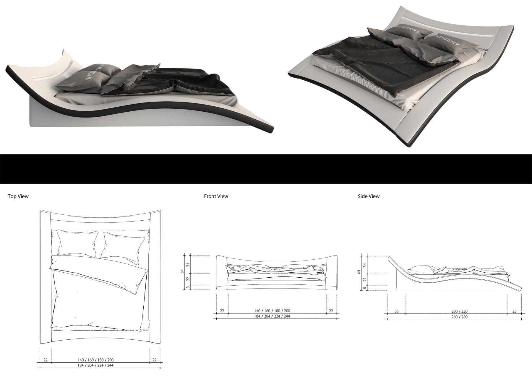 modernes wasserbett weiss schwarz ancona komplett set mit led beleuchtung kaufen bei pmr. Black Bedroom Furniture Sets. Home Design Ideas