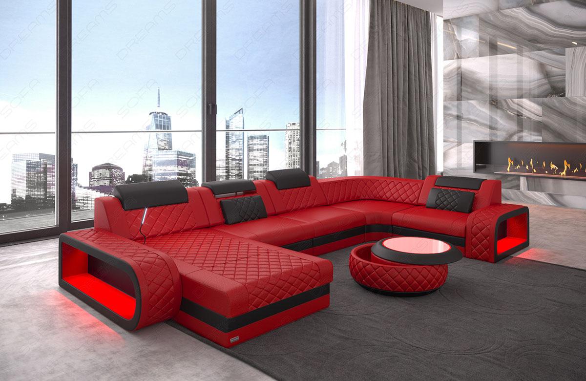 chesterfield leder wohnlandschaft berlin u form mit beleuchtung kaufen bei pmr. Black Bedroom Furniture Sets. Home Design Ideas