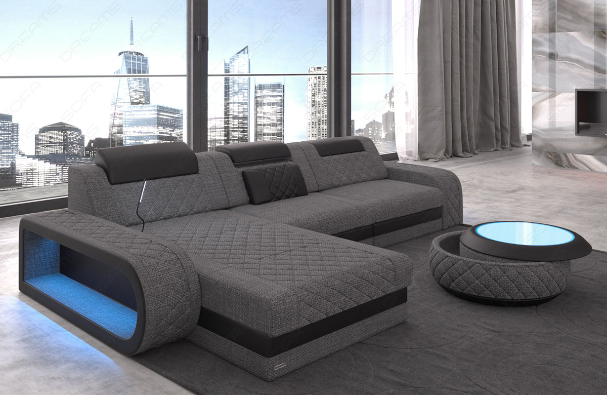 Chesterfield Stoff Couch Berlin L Form mit LED Beleuchtung erhältlich in  verschiedenen Farben und hochwertigen Stoffbezügen.