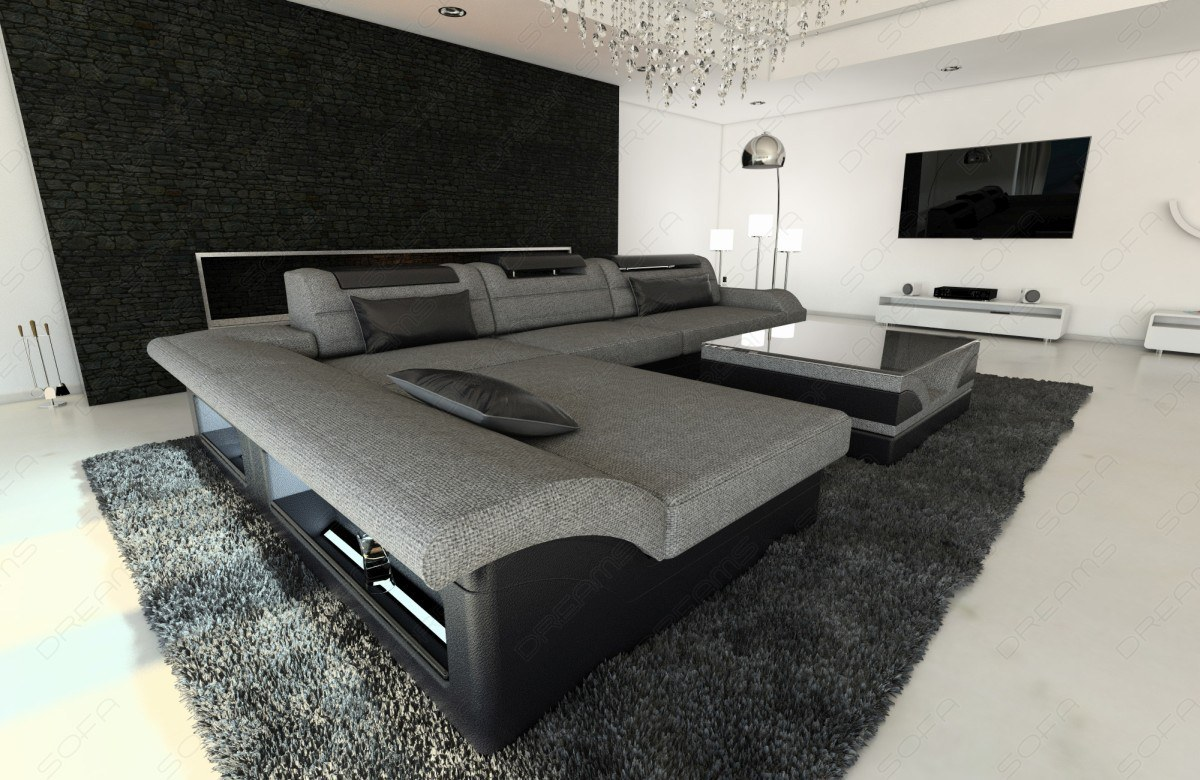 designer couch monza in stoff als l form mit verstellbaren. Black Bedroom Furniture Sets. Home Design Ideas