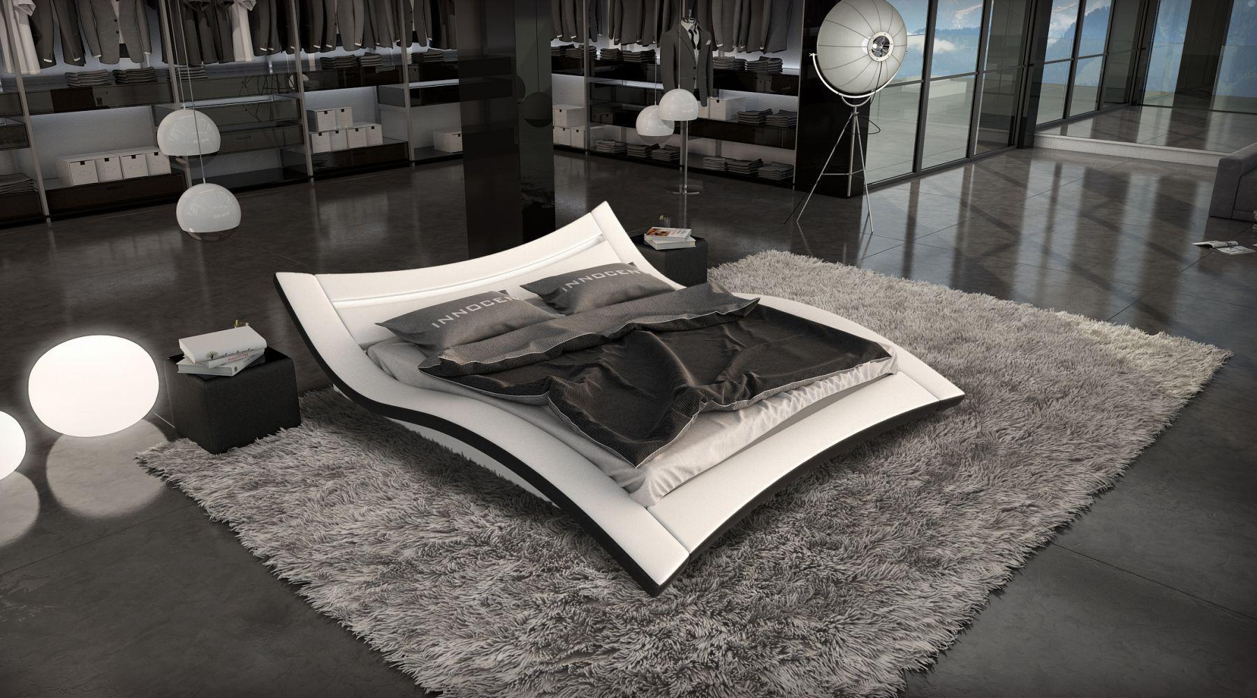 modernes wasserbett weiss schwarz ancona komplett set mit. Black Bedroom Furniture Sets. Home Design Ideas