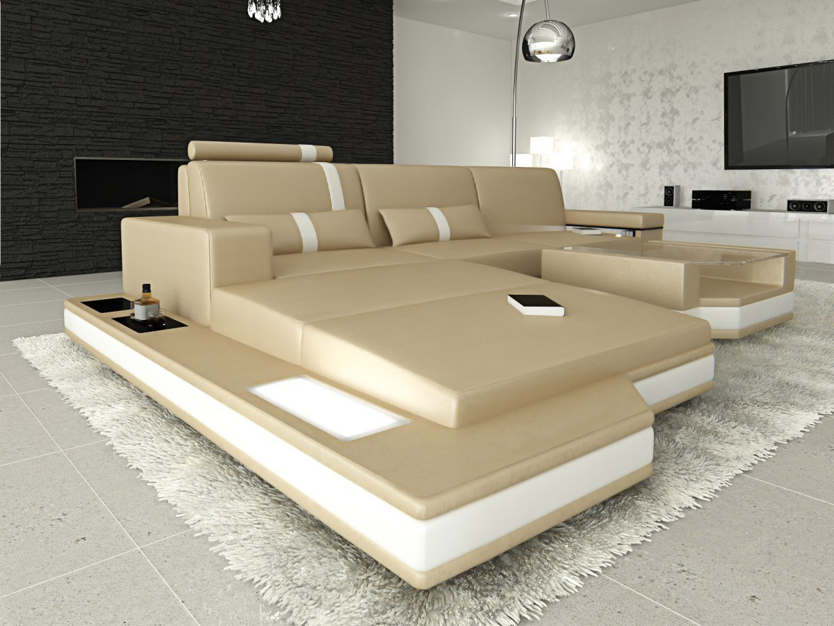 ledersofa messana in l form mit breiter ottomane kaufen bei pmr handelsgesellschaft mbh. Black Bedroom Furniture Sets. Home Design Ideas