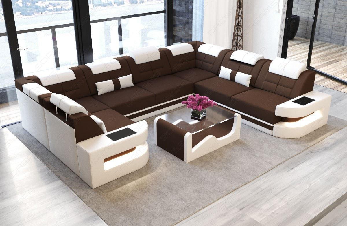 wohnlandschaft como als u form in stoff mit led licht. Black Bedroom Furniture Sets. Home Design Ideas