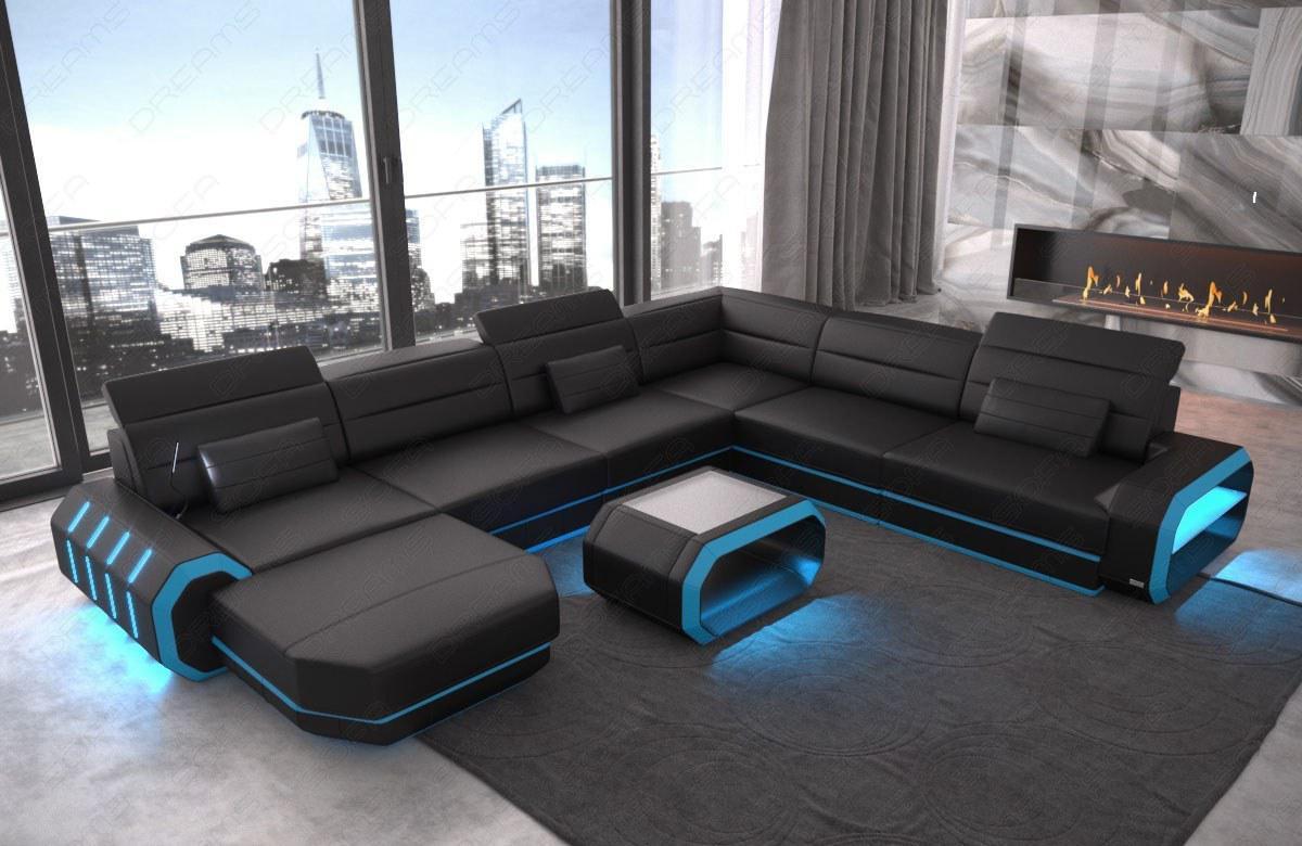 leder wohnlandschaft roma xxl als u form sofa mit beleuchtung kaufen bei pmr. Black Bedroom Furniture Sets. Home Design Ideas