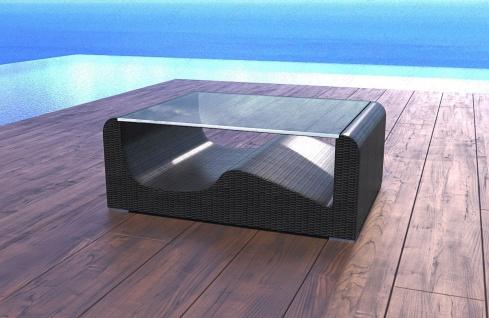 Moderner Rattan Tisch Wave mit stoßfester Glasplatte
