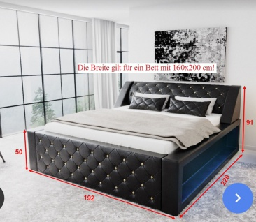 Modernes Komplettbett Arezzo mit LED Beleuchtung - Vorschau 4
