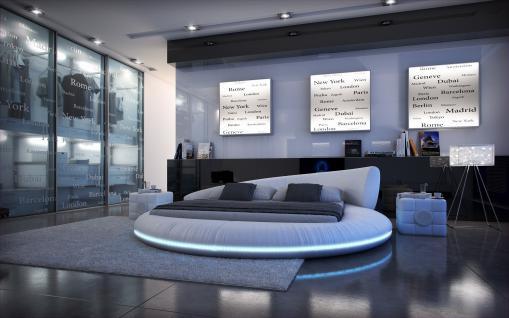 Komplettbett Mezzo LED mit Matratze und Lattenrost 180 x 200 cm - 200 x 200 cm - 200 x 220 cm