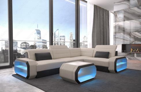 Stoffsofa Eckcouch Verona modern mit LED Beleuchtung - Vorschau 3