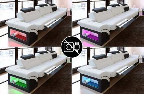 Modernes Sofa Monza als 3 Sitzer Couch mit Beleuchtung - Vorschau 3