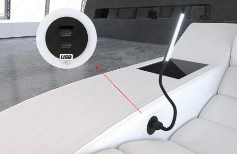 Leder Wohnlandschaft München U Form mit USB Anschluss und LED Beleuchtung - Vorschau 4