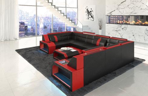 Sofa Wohnlandschaft Pesaro in der U Form mit LED Licht - Vorschau 3