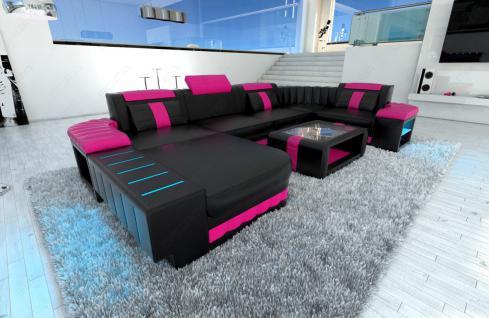 Ledersofa Wohnlandschaft BELLAGIO U-Form schwarz-pink - Vorschau 3