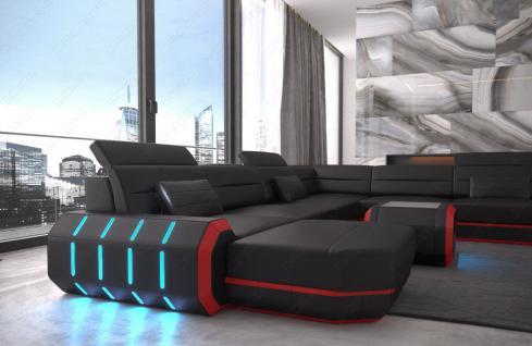 Leder Wohnlandschaft Roma XXL als U Form Sofa mit Beleuchtung - Vorschau 4