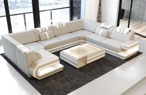 Luxus Sofa Ragusa Leder mit LED Beleuchtung