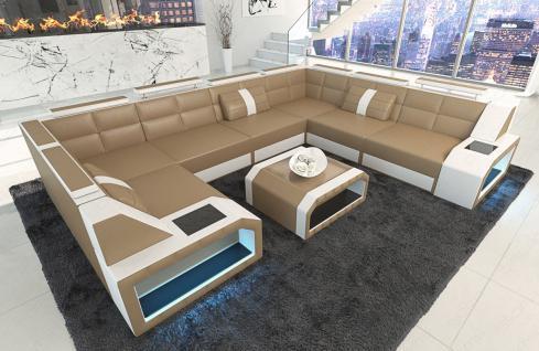 Sofa Wohnlandschaft Pesaro in der U Form mit LED Licht - Vorschau 4