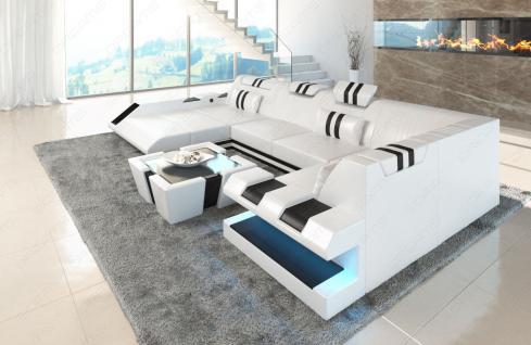 Sofa Wohnlandschaft Apollonia in U Form mit verstellbaren Kopfstützen - Vorschau 2