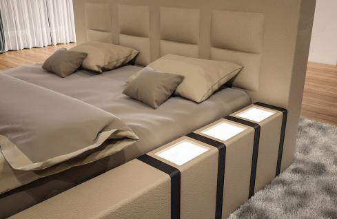 Luxus Designerbett Asti mit Beleuchtung in Boxspring Optik