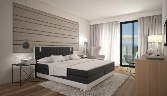 komplett boxspringbett k ln schwarz weiss mit beleuchtung kaufen bei pmr handelsgesellschaft mbh. Black Bedroom Furniture Sets. Home Design Ideas