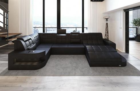 leder wohnlandschaft wave u form schwarz schwarz kaufen bei pmr handelsgesellschaft mbh. Black Bedroom Furniture Sets. Home Design Ideas