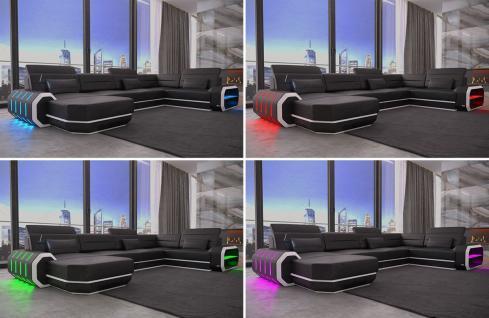 Leder Wohnlandschaft Roma XXL als U Form Sofa mit Beleuchtung - Vorschau 2