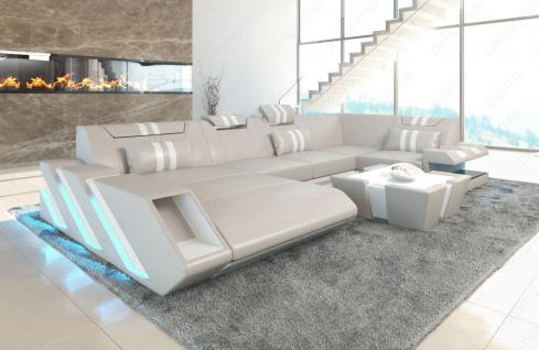 Sofa Wohnlandschaft Apollonia in U Form mit verstellbaren Kopfstützen