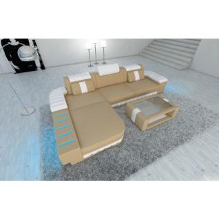 Modernes Ecksofa BELLAGIO L-Form mit LED Beleuchtung sandbeige-weiss