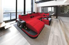 Sofa Wohnlandschaft Wave U Form mit Stoffbezug und Beleuchtung