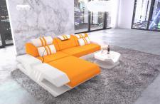 Stoff Sofa Venedig L Form mit LED Beleuchtung und Echtleder Bezug