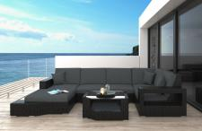 Polyrattan Sofa Lounge Messana U Form Gartensofa mit Lampen