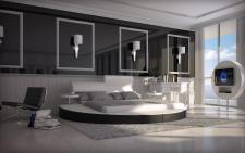 Rundbett Napoli modernes Bett mit verstellbaren Rückenlehnen und Drehtischen