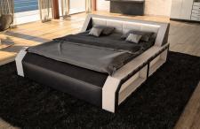 Designerbett Matera in schwarz weiss als modernes Doppelbett