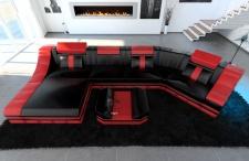 Leder Wohnlandschaft Turino C Form schwarz-rot