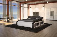 Design Komplettbett Matera in weiss schwarz mit LED Beleuchtung