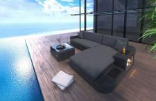 Designer Sofa aus Rattan in der L Form