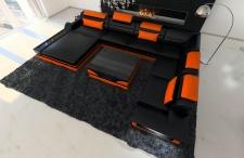 XXL Wohnlandschaft Mezzo schwarz-orange