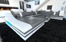 Sofa Wohnlandschaft Turino als XXL mit Leder bezogen